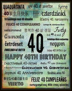 Free, super-cool 40th Birthday Subway art printables!