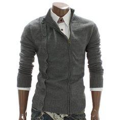 Doublju Mens Zip up Cardigan Sweater