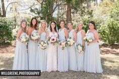 Bridal Party Portrait l Light Blue Bridesmaids Dress l Sky Blue Dresses l Bouquets l Wedding Day l Wrightsville Manor l Wilmington, NC l Knot Too Shabby Events