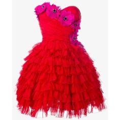 Dolce & Gabbana bustier ruffle flower dress (86,360 MXN) ❤ liked on Polyvore featuring dresses, chiffon cocktail dress, red mini dress, red evening dresses, red strapless cocktail dress and mini cocktail dress