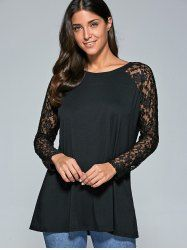 Lace Patchwork Sleeve Sheer Comfy Blouse - BLACK XL