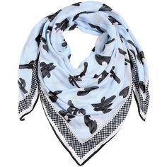 Kenzo Women Cactus Printed Cotton Scarf ($325) ❤ liked on Polyvore featuring accessories, scarves, light blue, cotton shawl, kenzo, kenzo scarves and cotton scarves