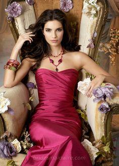 Raspberry Taffeta Sweetheart Strapless Long Bridesmaid Ball Gown