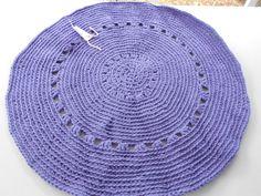 Deep Lavender Crocheted Original House Rug. www.KaysKoolKrochet.Etsy.com