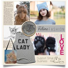 I support small business.   #felinefashion #cat #catlady #pussycat #kitten #catprint #artprint #gray #blue #bag #totebag #hat #cathat #pussyhat #jewelry #top #m...
