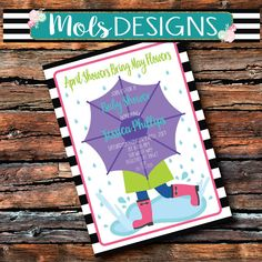 Any Color APRIL SHOWERS Bring May Flowers Rain Baby Sprinkle Baby Shower 1st 2nd 3rd Birthday Singing In the Rainboots Umbrella Invitation
