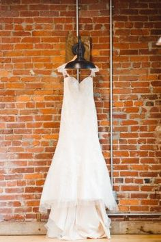 Fit and Flare Lace Bridal Gown with Lace Straps | Geometric Rocker Inspired Wedding, The Loft at 600 F, DC | Brooke Michelle Photography