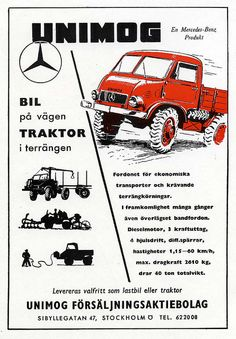 UNIMOG vintage advertising from Stockholm.