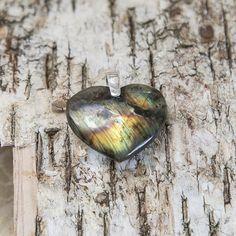 Colourful labradorite heart pendant heart of the ocean