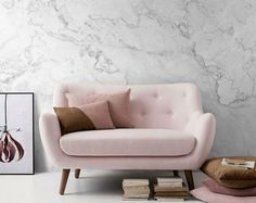 White Marble Removable Wallpaper, Stone Texture Wall Mural – Peel and Stick Wallpaper, Self Adhesive Marble Pattern Mural, Wall Murals # 9 Removable white marble-look wallpapers Marble Wall, White Marble, Marble Room, Sofa Design, Wall Design, Design 24, Design Ideas, House Design, Home Design Decor