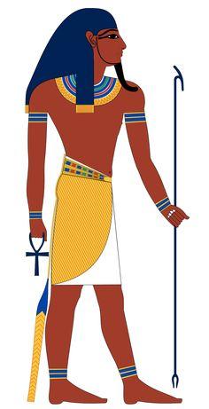 """Atum, dios creador """"El que existe por sí mismo"""", era un dios solar. Fue representado como hombre, portando la corona Doble, o como hombre viejo barbado. Como dios solar, con cabeza de carnero, con cabeza de mangosta, o como ave Fénix. Es el primer dios representado con cuerpo humano, pues antes todas las deidades de los antiguos egipcios tenían forma de animales. Atum es el dios que según la cosmogonía heliopolitana surgió del """"océano primigenio"""", Nun, creándose a sí mismo."""