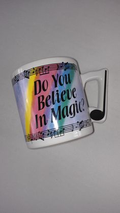 Do You Believe In Magic Music Coffee Mug Cup Papel Spinning The Hits Colorful http://etsy.me/1XC8TAa #vintage #etsy #80s #90s #singing