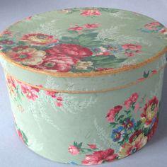 "Vintage Floral Wallpaper Covered Hat Box Millinery c1940s Roses on Blue 13"" | eBay"