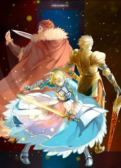 Fate Zero - Honor-Arthur, Pride-Gilgamesh, & Glory-Iskander...3 Kings