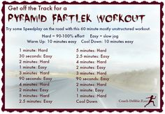 This Pyramid Fartlek Workout is a great way to take your speed workout off the track on onto the streets!