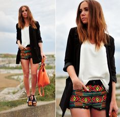 neon patterned shorts! oh yes.