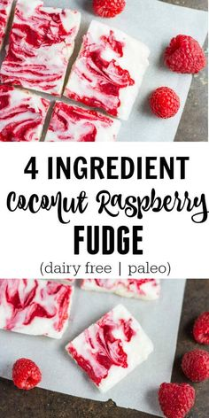 Coconut Raspberry Fudge really is my favorite kind of treat Fast easy and delicious Only 4 simple ingredients coconut butter coconut oil maple syrup and fresh raspberries. Dessert Sans Gluten, Paleo Dessert, Gluten Free Desserts, Dairy Free Recipes, Vegan Desserts, Dessert Recipes, Dairy Free Fudge, Paleo Fudge, Fudge Recipes
