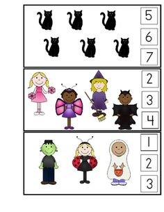 Encourage children to count sets of objects (1 - 10).  These Halloween themed counting cards can be used with clothespins as well.  I plan to paint...