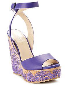 "Spotted this Jimmy Choo ""Patara"" Leather & Cork Wedge Sandal on Rue La La. Shop (quickly! Wedge Sandals, Purple Wedges, Shoe Wardrobe, Fashion Heels, Women's Fashion, Purple Bags, Jimmy Choo Shoes, Boutique, Rpg"
