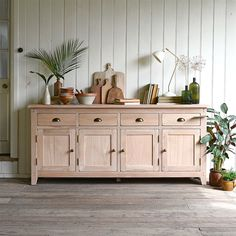 Natural Oak Extra Large Sideboard - The Cotswold Company Sideboard Dekor, Kitchen Sideboard, Rustic Sideboard, Large Sideboard, Oak Sideboard, Hallway Sideboard, Dining Room Buffet, Dining Room Furniture, Rustic Furniture