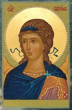 Gabriel the Archangel, St Elisabeth Convent. Icon is made by a crushed stone technique. Archangel Gabriel, Archangel Michael, Religious Icons, Religious Art, Saint Gabriel, Paint Icon, Religious Paintings, Byzantine Art, Christians