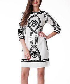 Look at this #zulilyfind! White & Black Los Jameos Dress by Almatrichi #zulilyfinds