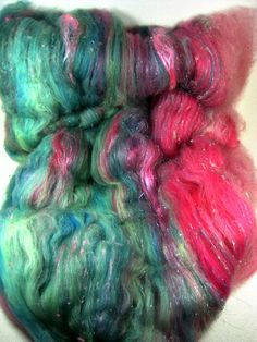 Pink Opal Wild Card Bling Batt for Spinning and by yarnwench, $22.00