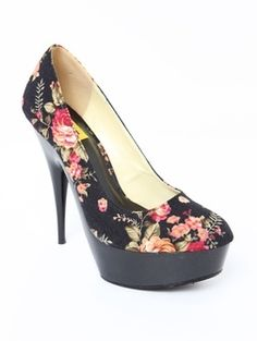 Hugo-13B Vintage Floral/Patent Platform - Pumps - O'SHOES A'GACI - StyleSays