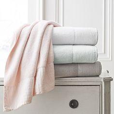 Kassatex  Gramercy Linen-Applique Cotton Towel