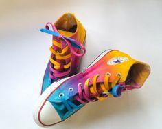 cea097a3c2f25 Rainbow Unicorn Vomit Tie Dye Custom Converse High Tops