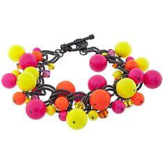 Bright Back Atcha Bracelet | Fusion Beads Inspiration Gallery. With .pdf how-to. Love the chain link base.
