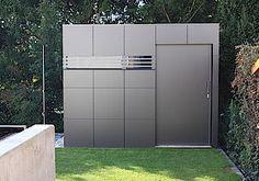 Contemporary garden shed in ananthracite HPL facade. Gardomo Design-Gartenhäuser