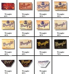 how to identify vintage wrangler logog - - Yahoo Image Search Results Vintage Logo, T Shirt Vintage, Vintage Branding, Vintage Labels, Vintage Jeans, Vintage Outfits, Logo Evolution, T Shirt Label, Clothing Brand Logos