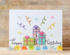 PartyTime9.26.14.1 Birthday Cards For Women, Happy Birthday Cards, Homemade Birthday Cards, Homemade Cards, Making Greeting Cards, Greeting Cards Handmade, Boutique Scrapbooking, Tarjetas Diy, Bday Cards