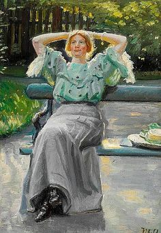 Michael Ancher - Helga Ancher on a bench in the garden on a summer evening 1906
