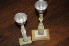 Wooden Candlesticks  Painted  Set of Two  Salvaged by CrownWillow