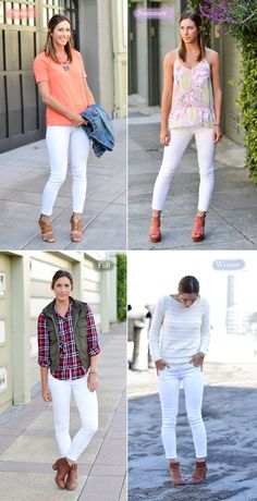 How to wear white jeans for any season-love it!  Here in CA, we can actually wear while the entire year, but I never really have. I am looking forward to sporting these in the fall with my denim vest, boyfriend shirt and booties as the temperature starts to dip.