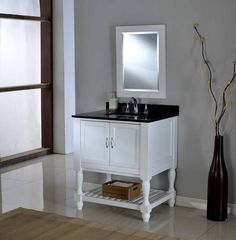 Mission Turnleg Spa White Vanity w/ Black Top - in. pearl white Mission Turnleg Spa single bathroom vanity sink console with black granite top perfectly combines contemporary and traditional styles for your bathroom. Bathroom Vanity, Home, Wood Mirror, White Vanity, Mirror Backsplash, Storage Spaces, Vanity Sink, Bathroom Items, Bathroom