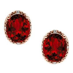 Simple Oval Cut Garnet Diamond Rose Gold Stud Earrings For Women Available Exclusively at Gemologica.com