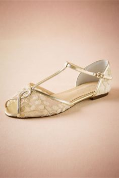 BHLDN Maisie Embroidered T-Straps    in  Shoes & Accessories Shoes at BHLDN