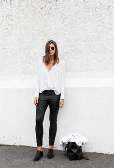 MODERN LEGACY fashion blog pinstripe shirt leather leggings Helmut Lang oxfords Alexander Wang bag black and white street style (1 of 6)