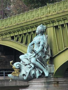 Pont Mirabeau built between 1895 and 1897 in Paris, France - listed as a historical landmark in 1975