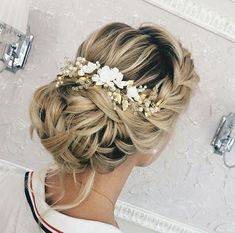 This beautiful airy handmade bridal hair comb made with pretty crystal elements, handcrafted flowers, ivory glass pearls and tiny leaves. Complement most wedding hairstyles. It is the perfect bridal h Bridal Hair Updo, Hair Comb Wedding, Bridal Hair And Makeup, Wedding Hair Pieces, Wedding Updo, Wedding Headpieces, Wedding Nails For Bride, Bridal Comb, Bride Makeup
