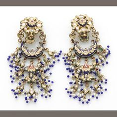 A pair of freshwater cultured pearl, diamond simulant, paste, enamel, 14k gold and heavy gold plate earclips
