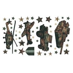 CAMO camouflage WALL PAPER APPLIQUES bedroom decor army