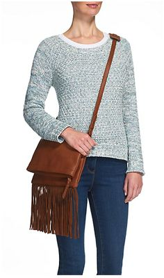 Indigo Collection Fringed Messenger Bag