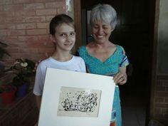 Quadro sorteado e ganho pelo aluno da Escola Guimarães Rosa ('La nave va', acrylics sobre papel)