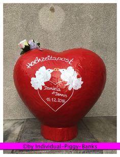 Herz XXL rot Hochzeit Box für Umschläge Geldgeschenkebox Umschlagbox  Tauben