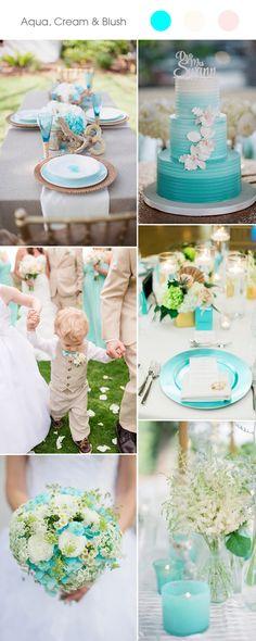 aqua and cream wedding color ideas for spring summer 2017