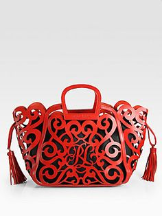 Ralph Lauren Collection Lazer-Cut Scoll Tote